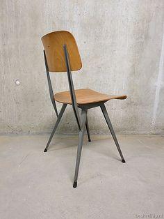 mid century industrial school chair industrial Friso Kramer / Wim Rietveld style, vintage design schoolstoel Friso Kramer stijl