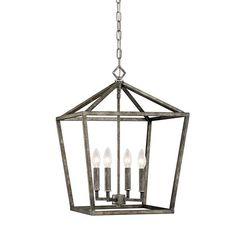 Medium Geometric Open Cage Lantern in Antique Silver by Millennium Lighting 3244AS
