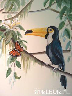 jungle muurschildering toekan