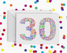 30 Birthday Card, Rainbow, Number thirty Card, 30th Birthday, Happy Birthday Card, 30th Birthday Card, just a card, milestone birthday