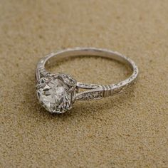 WOW! Estate Diamond Engagement Ring set in Handmade Platinum. An epic Vintage Engagement Ring.