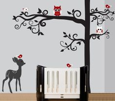 Childrens wall decal - tree with branches decal owls birds fawn decal