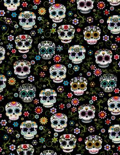 Flowery Sugar Skulls on Black Dia De Los by julies5150world
