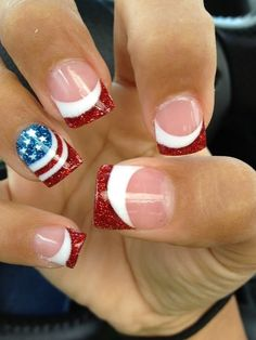 of July Nails! The Very Best Red, White and Blue Nails to Inspire You This Holiday! Fourth of July Nails and Patriotic Nails for your Fingers and Toes! French Manicure Nails, Manicure Y Pedicure, Manicure Ideas, Nail Nail, Pedicures, Red Nail, Nail Polishes, Sparkly French Manicure, Nailart French