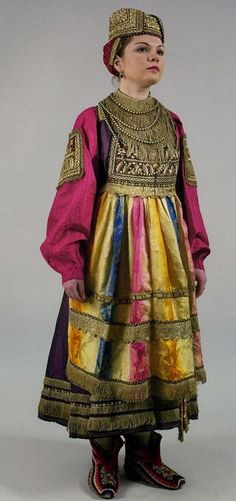 Russian traditional costume. Festive attire of a woman from an Old-Believers family, Nizhny Novgorod Province, 19th century.