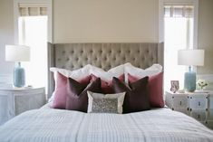 This dreamy master retreat exudes a calm color palette with pops of plum, mauve and light blue in the accessories. A sequined pillow adds a touch of pizzazz to the bed. Home Bedroom, Bedroom Decor, Bedroom Ideas, Master Bedrooms, Bedroom Inspiration, Master Suite, Bedroom Nook, Bedroom Inspo, Master Bath