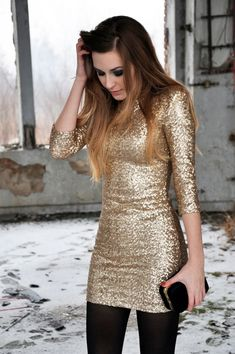 Love this gold dress with the black tights for a cold christmas or new years outfit! Description from pinterest.com. I searched for this on bing.com/images