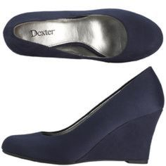 Final NWOT comfortable faux navy suede wedges. No box - sorry. Heel height is 3 1/4 - interior is totally padded for comfort. Dexter Shoes Wedges