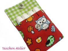 Tampontaschen - Minitasche EULEN im Wald rot Tampontasche - ein Designerstück von CreativeArtDesign bei DaWanda