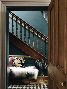 Hallway / entryway in Farrow and Ball Inchyra blue hallway; dark dramatic interior design