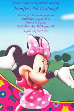 Minnie wants you to cheer for the greatest day of the year! Celebrate your baby's first birthday with this flat card featuring the lovable Minnie Mouse Minnie Mouse Birthday Invitations, Disney Invitations, Custom Birthday Invitations, Minnie Birthday, Shower Invitations, Invite, Minnie Mouse Clubhouse, Minnie Mouse Balloons, Mickey Y Minnie