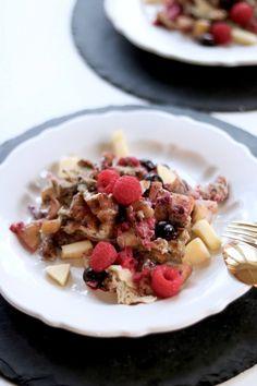 Frühstücksideen mit Ei - süßes Rührei - Paleo Rezept Waffles, Oatmeal, Drinks, Breakfast, Food, Cooking, Paleo Food, Dairy, Paleo Recipes