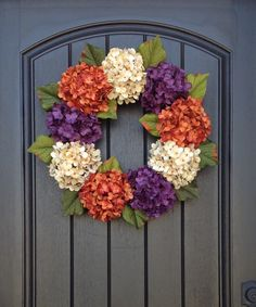 Spring Wreath Summer Wreath Grapevine Door Wreath Decor Orange Purple Cream Hydrangea by AnExtraordinaryGift on Etsy