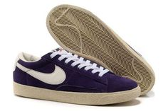 Chaussures Nike Blazer Low Premium Suede Vintage Homme Purple Blanc.