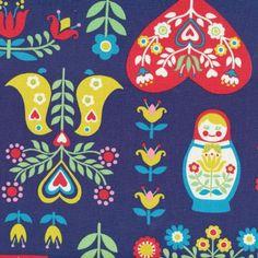 Folk Art Horse & Matryoshka Blue from Kelani