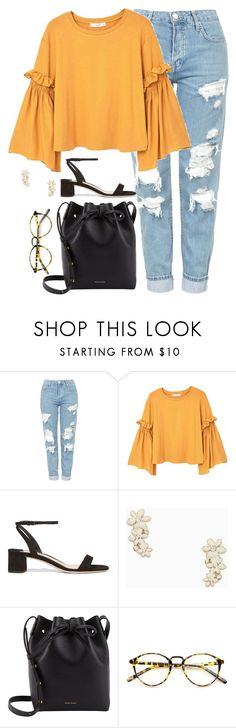 """""""I'm happier now, I don't do those black,gray,burgundy sets I used to"""" by gusana-14 ❤ liked on Polyvore featuring Topshop, MANGO, Miu Miu, Kate Spade, Mansur Gavriel and INDIE HAIR"""