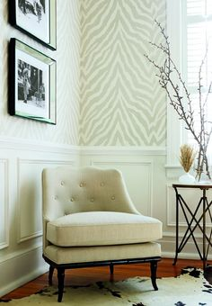 chair rail and zebra wallpaper.  Michael would never let this happen.  But I'm in love!!!