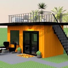Shipping Container Office, Shipping Container Home Designs, Container House Plans, Container House Design, Tiny House Design, Sea Container Homes, Container Cafe, Cargo Container, Tiny Home Office