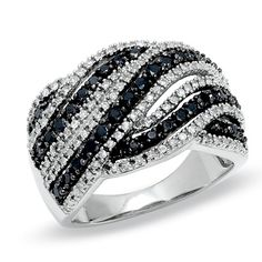 1 CT. T.W. Enhanced Black and White Diamond Wave Ring in Sterling Silver - Size 7