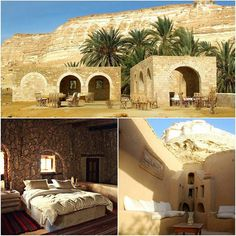 """@Regrann from @luxelifeadventures - """"A desert is a place without expectation."""" -Nadine Gordimer    Built on the side of a white limestone mountain a few kilometers from Siwa Egypt the Hotel Adrere Amellal is a luxurious eco lodge radically different from traditional luxury. Authentic and ecological is how its creator Mounir Neamatalla describes the originality of the Adrere Amellal. Theres no electricity or telephone in these dwellings made of kershef a mixture of earth stone and salt water…"""