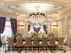 Showcase of Classic Style Interior Design Luxury Dining Room, Luxury Rooms, Luxury Homes Interior, Luxury Home Decor, Dining Room Design, Home Interior Design, Luxury Villa, Dinner Room, Elegant Dining