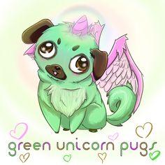 Green Unicorn Pug by GreenUnicornPugs