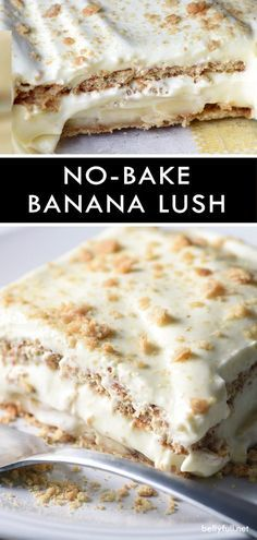 Reminiscent of Banana Cream Pie, but easier! This No-Bake Banana Cream Lush uses Graham crackers instead of a crust, and it's no-bake, making it perfect for summer. It's a must the next time you have a crowd over! bake Desserts No-Bake Banana Cream Lush No Bake Summer Desserts, Quick Dessert Recipes, Desserts For A Crowd, Köstliche Desserts, Dessert Healthy, Banana Recipes No Bake, Summer Deserts, Banana Dessert Recipes, Pudding Desserts