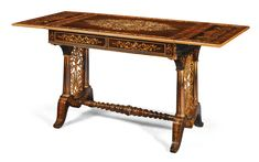 An Italian burrwood inlaid rosewood and marquetry sofa/writing table, probably Genoese circa 1840