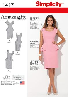 Simplicity 1417 Misses& and Women& Amazing Fit Peplum Dress Sewing Pattern Sewing Dress, Dress Sewing Patterns, Sewing Clothes, Clothing Patterns, Plus Size Peplum, Plus Size Dresses, Dresses For Work, Miss Dress, Simplicity Sewing Patterns