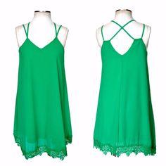 Ya Los Angeles SOLID GREEN Sleeveless Shift Dress Lace Hem Matte Silk/Poly S - L #YaLosAngeles #Shift #SummerBeach