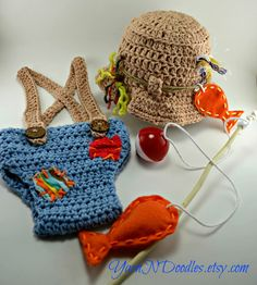 Baby Boy Crocheted Fisherman Sun Hat Overalls by YarnNDoodles, $62.99