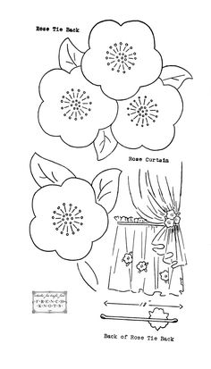 Rose Curtain Tie Back Pattern  would be nice either fabric paper or painted - and a beaded centre