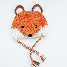 No pattern :( . Crochet Fox, Crochet Things, Crochet For Kids, Crochet Ideas, Crochet Projects, Bee Creative, Crocheted Hats, Pattern Pictures, Hair Bands