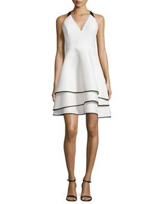 Tiered-Skirt+Contrast+Crepe+Dress+by+Halston+Heritage+at+Neiman+Marcus.