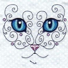 "This free embroidery design is from Design by Sick's ""Swirly Cat"" collection."