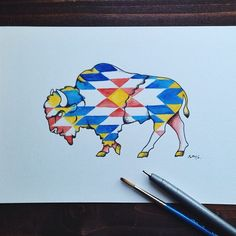 Finishing up tattoo designs for some cool people. This one for @abbymw #bison #tattoo #CopicArt @copicmarker