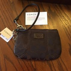 Coach chocolate brown wristlet Coach chocolate brown wristlet. Never used. Excellent condition. Coach Bags Clutches & Wristlets