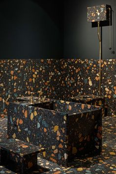 Dark terrazzo with colorful inserts for the bathroom floor, walls and the bathtub itself. Terrazzo inspiration for home interiors and redecoration ideas. Bathroom Floor Tiles, Bathroom Wall Decor, Bathroom Interior Design, Bathroom Furniture, Decor Interior Design, Interior Decorating, Bathroom Ideas, Bathroom Carpet, Bathroom Mirrors