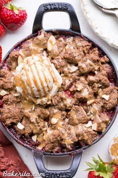 Strawberry Crisp with Almond Butter Crumble