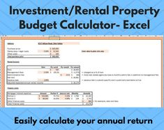 Excited to share this item from my #etsy shop: Investment/Rental Property Budget/Calculator - EXCEL- Instant digital download - Annual Profit/Return Calculator