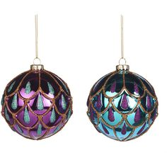 Amara Glass Drop Christmas Bauble - Set of 2 - Purple/Blue ($49) ❤ liked on Polyvore featuring home, home decor, holiday decorations, multi, blue home accessories, christmas holiday decor, purple home decor, blue home decor and christmas holiday decorations
