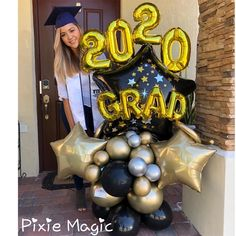 Graduation Party Desserts, Graduation Decorations, Grad Parties, Balloon Flowers, Balloon Bouquet, 16 Balloons, Halloween Balloons, Graduation Balloons, Birthday Balloon Decorations