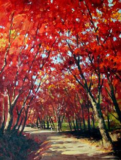 Red trees oil painting
