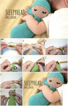 To crochet a baby amigurumi  doll is much easier than I thought