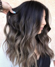 Long Wavy Ash-Brown Balayage - 20 Light Brown Hair Color Ideas for Your New Look - The Trending Hairstyle Ombre Hair Long Bob, Brown Ombre Hair, Light Brown Hair, Ashy Brown Hair, Ashy Hair, Red Hair, Brown Hair With Blonde Highlights, Hair Highlights, Icy Blonde