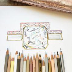 Watercolour Pencils Ring Illustration
