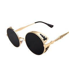 Steampunk Vintage Sunglass Round Sunglasses Women's Brand Designer Metal Carving Sun Glasses Men's De Sol S1635