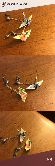 Earrings Origami crane earrings. Bundle two $6 earrings for $10. Three for $15!  Nail polish not included, only pictured to show size. Jewelry Earrings