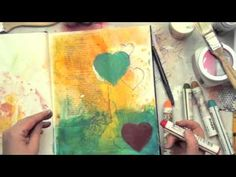I love the stencil inside the heart.  Christy Tomlinson Mixed Media Collage: Art journaling love!