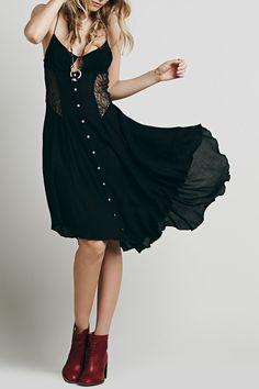 Black Spaghetti Strap With Lace Asymmetric Dress